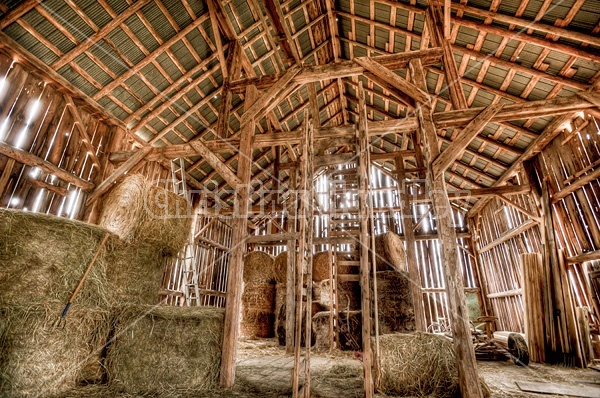 Inside old barn hayloft