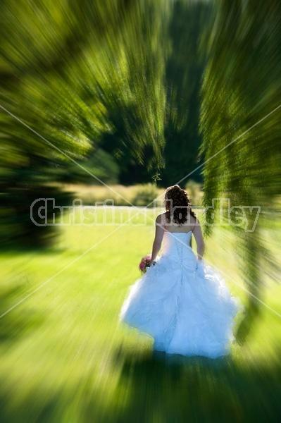 Woman in wedding dress.