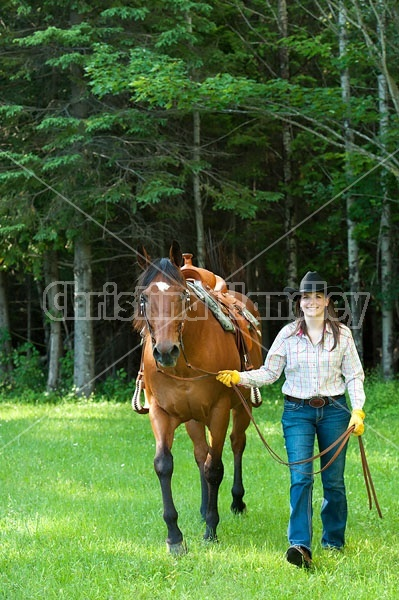 Young woman leading a bay quarter horse gelding