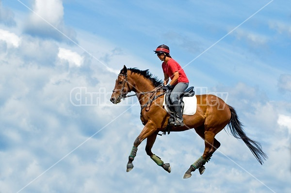 Woman riding bay horse in the clouds