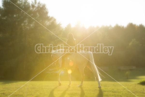 Woman riding a palomino horse