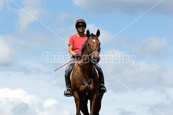 Woman riding bay horse