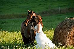 Woman in wedding dress with horse.