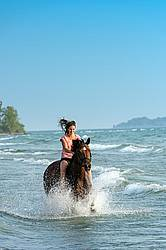 Young woman horseback riding in the surf of Lake Ontario.