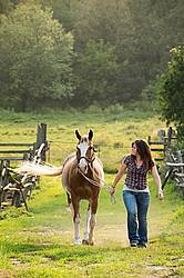 Young woman leading her Quarter Horse