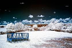 Infrared photo of a farm scene