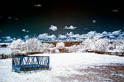 Infrared photo of a farm scene