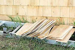 Wooden cedar shingles