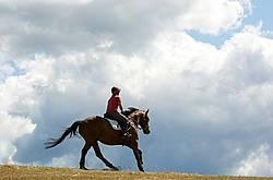 Woman horseback riding against big sky background