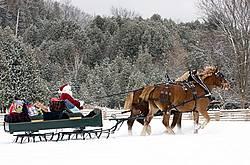 Santa Claus driving sleigh