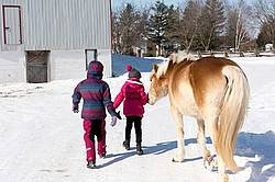 Two young girls with their pony