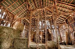 Inside old barn hayloft