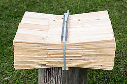 Bundle of wooden cedar shingles