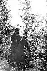 Woman horseback ridging through forest