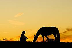 Woman with horse silhouetted against evening sky