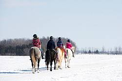 Four young girls riding their ponies bareback in the snow