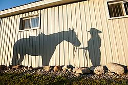 Shadow of woman and western horse on the side of barn