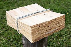 Bundle of wooden cedar shingles