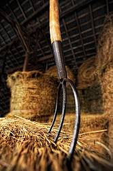 Pitchfork in hay Bale