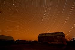 Long night time exposure over barn