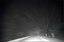Farm driveway photographed in a snow storm