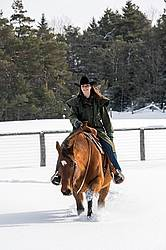 Portrait of a woman horseback riding in the snow