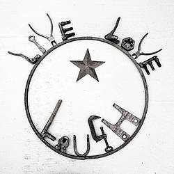 Hand crafted Live Love Laugh art sign made out of recycled or repurposed farm tools and machinery parts then welded together