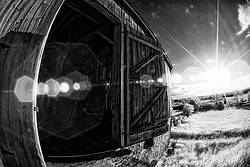 Old barn photographed with fisheye lens