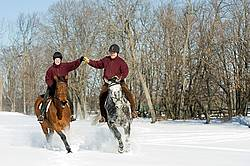 Husband and wife horseback riding through the deep snow holding hands