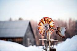 Windmill in farm yard