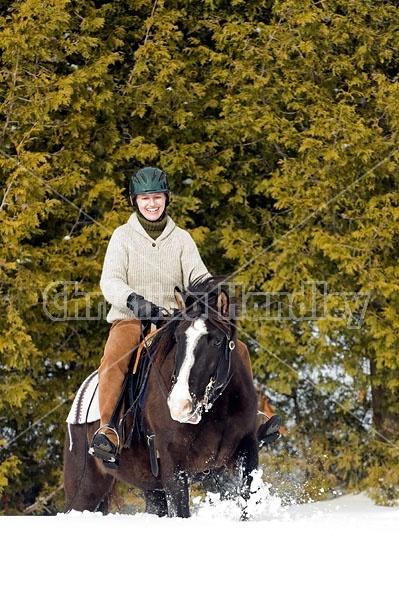 Horseback riding in the snow in Ontario Canada