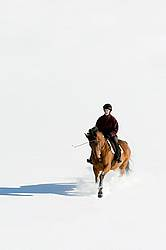 Woman riding bay horse through the deep snow